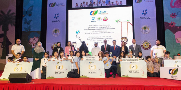 Sasol, Ministry of Education and Higher Education and FEC Honor Winners of Qatar e-Nature School Contest 2018